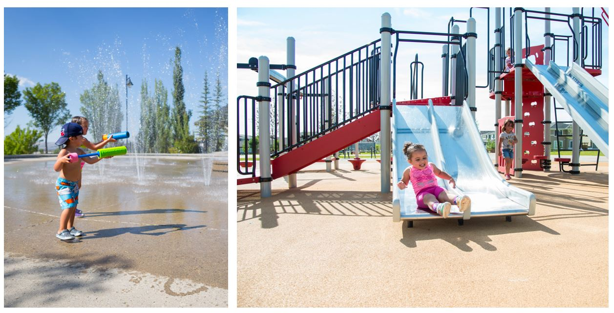 Kids playing in the spray park and playground in the Crestmont Community Calgary