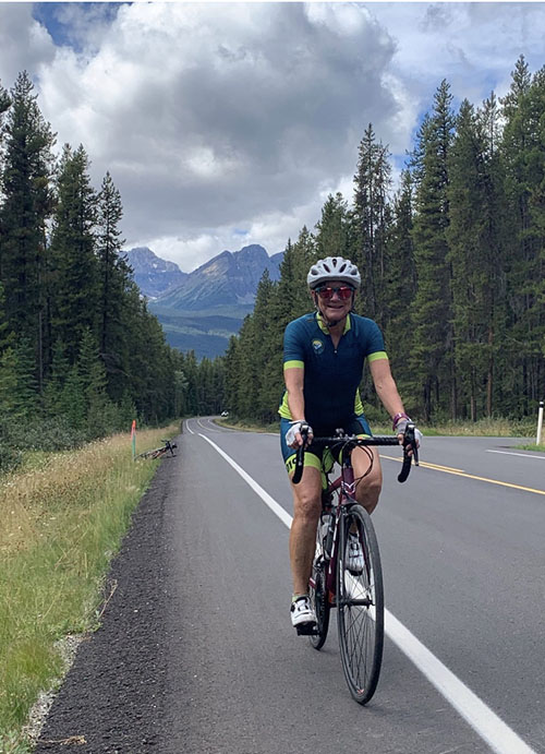 Sue Rodgers participating in the Ride Through the Rockies 2020