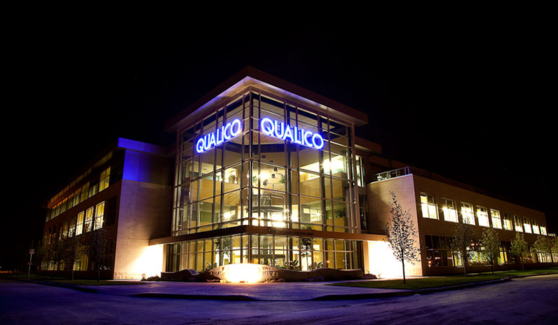 night image of Qualico's corporate office in Winnipeg.