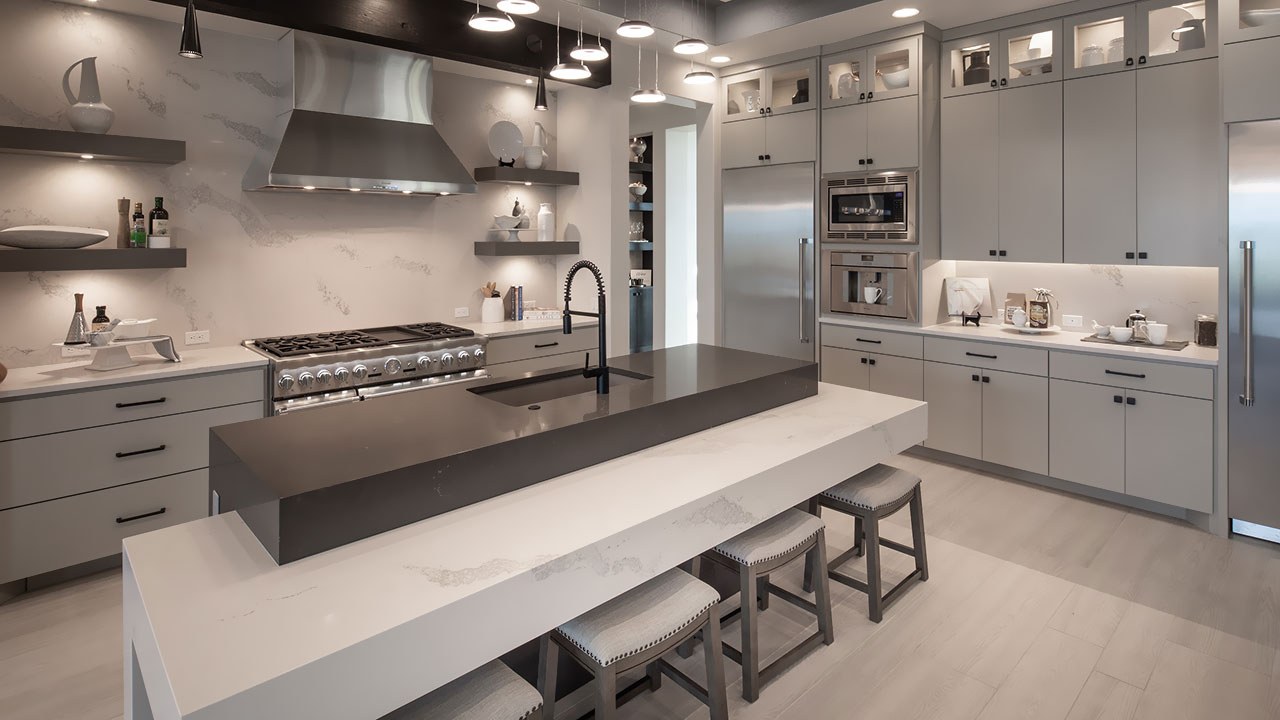 Enjoy the modern design and function of the the kitchen in the Travisso home by Hill Country Artisan Homes.