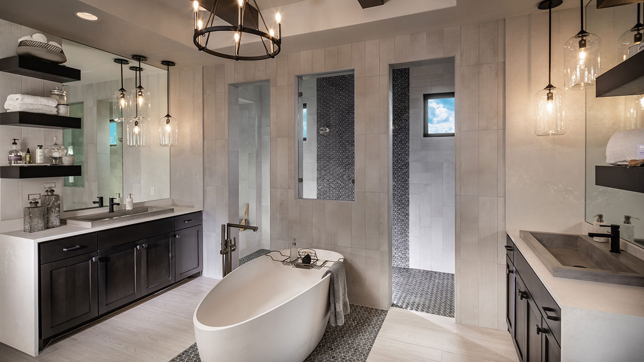 Pamper yourself in the luxurious comfort of the master bath in Hill Courty Artisan's Travisso model.