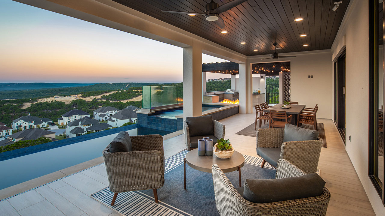 Homeowners can enjoy warm Texas nights on the patio of the Travisso home by Hill Country Artisan Homes.