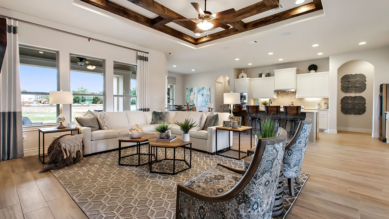 Enjoy entertaining guests in the open space of the Santolina living room.