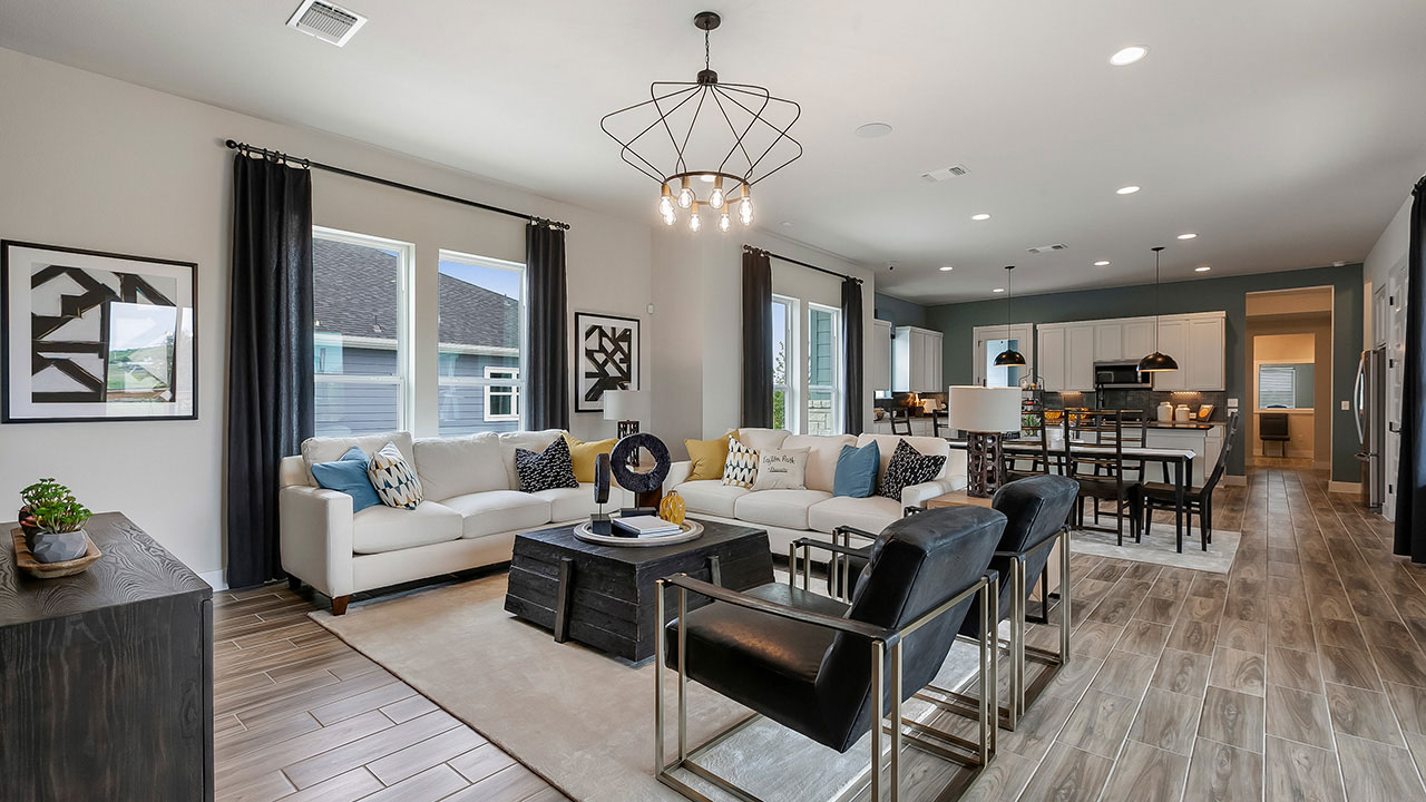 Many homes built by Pacesetter Homes Texas offer an open concept living space.