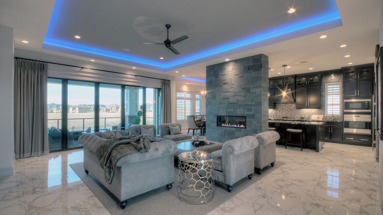 The Great Room in the Westwood by Augusta Fine Homes in Calgary