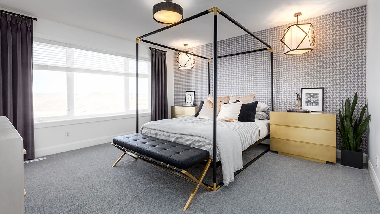 A master bedroom in one of many Broadview showhomes located throughout Calgary.