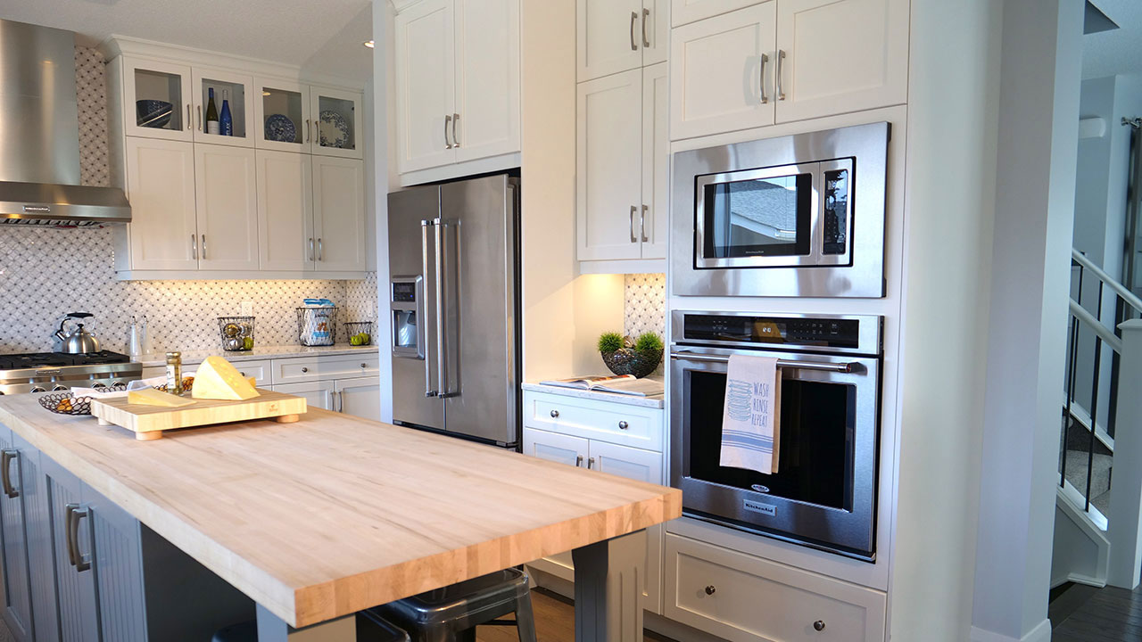A spacious kitchen in a Broadview home in Calgary.