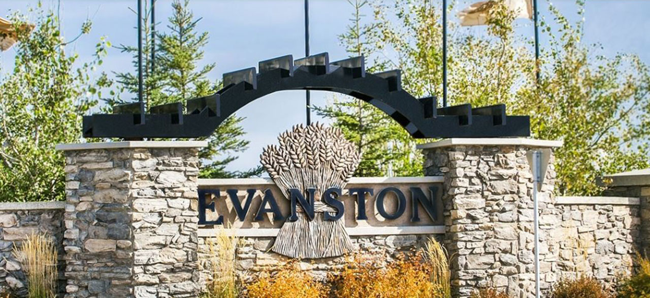 Visitors to the community of Evanston are greeted with a beautiful entry feature.