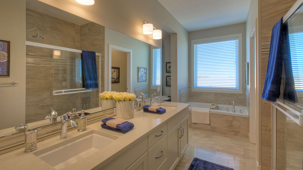The bathroom of the Elina model by NuVista Homes.