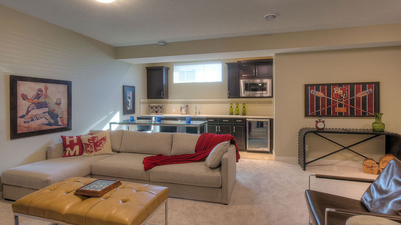 The Elina by NuVista Homes boasts a beautiful living room in the basement.