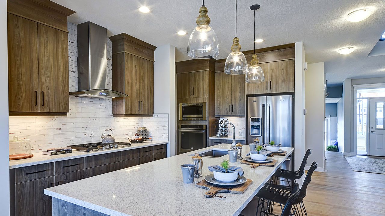The kitchen in the Hamilton model by NuVista Homes offers unique elegance.
