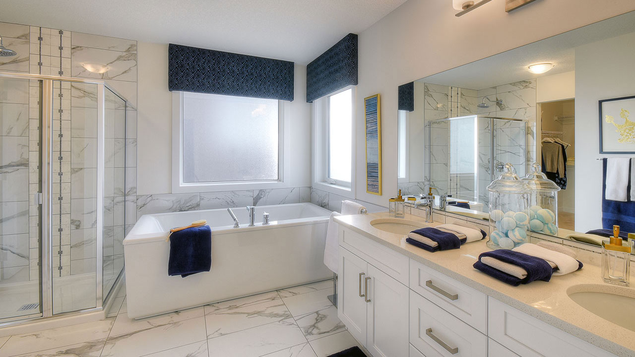 The master bathroom in the Kingsley, built by NuVista Homes.