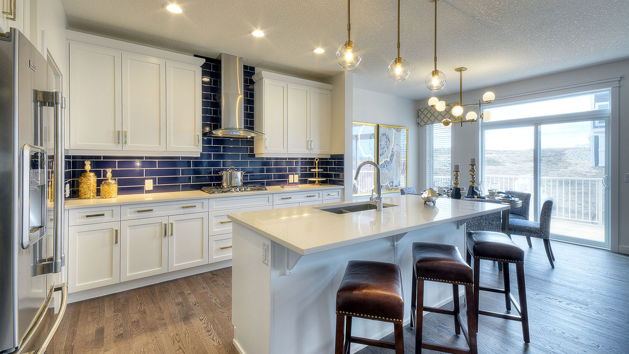 The kitchen in the Kingsley by NuVista Homes in Calgary