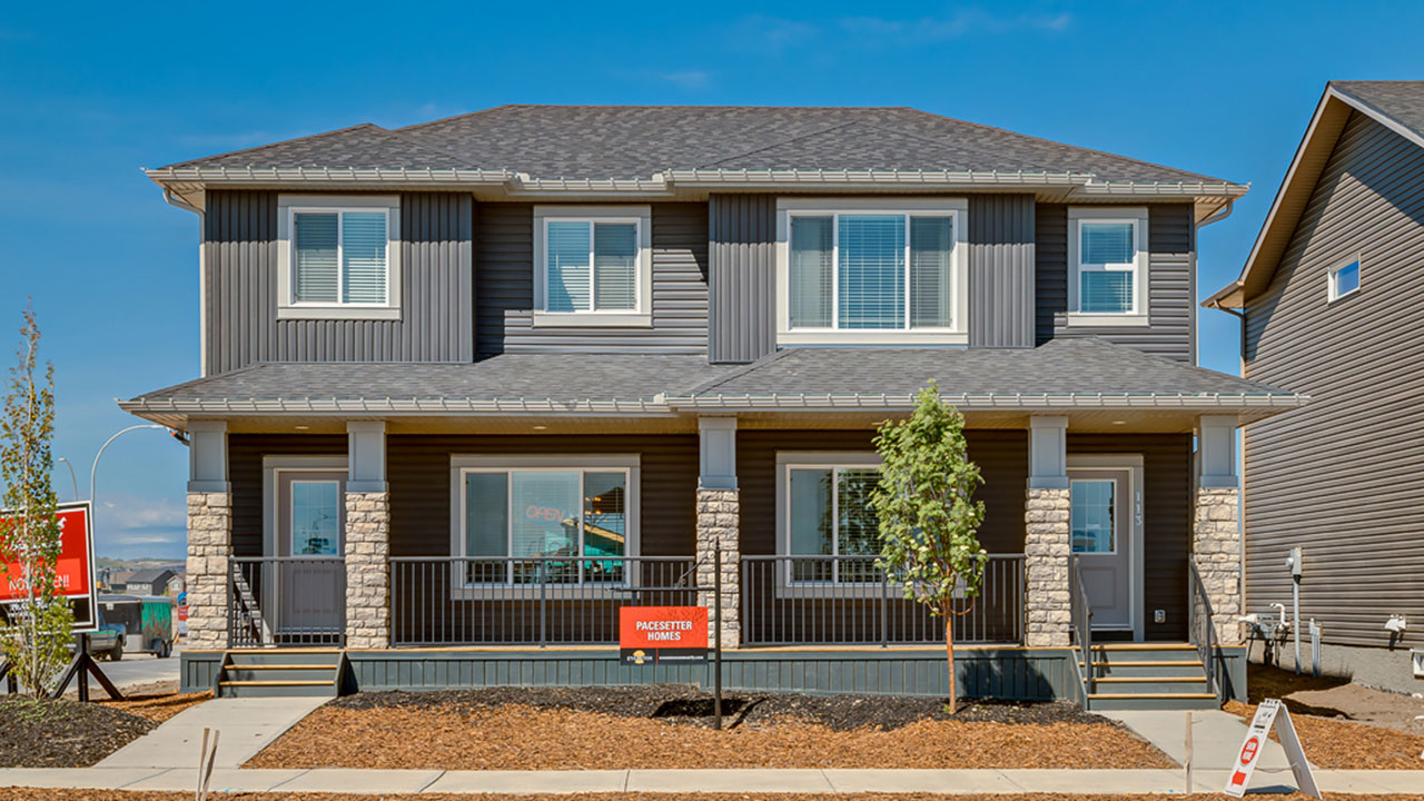 The exterior of the Greyston and Middleton models by Pacesetter Homes in Calgary.