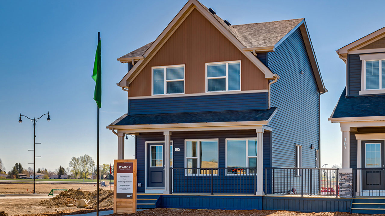 The exterior of the Shelby, a model home built by Pacesetter Homes in Calgary.