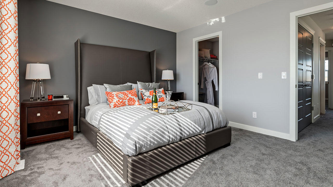 The master bedroom in the Shelby model home.