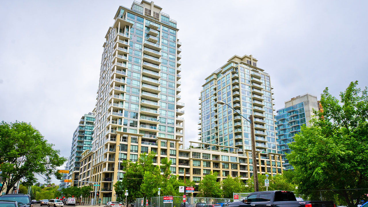 A high rise condominium property managed by Rancho in Calgary.