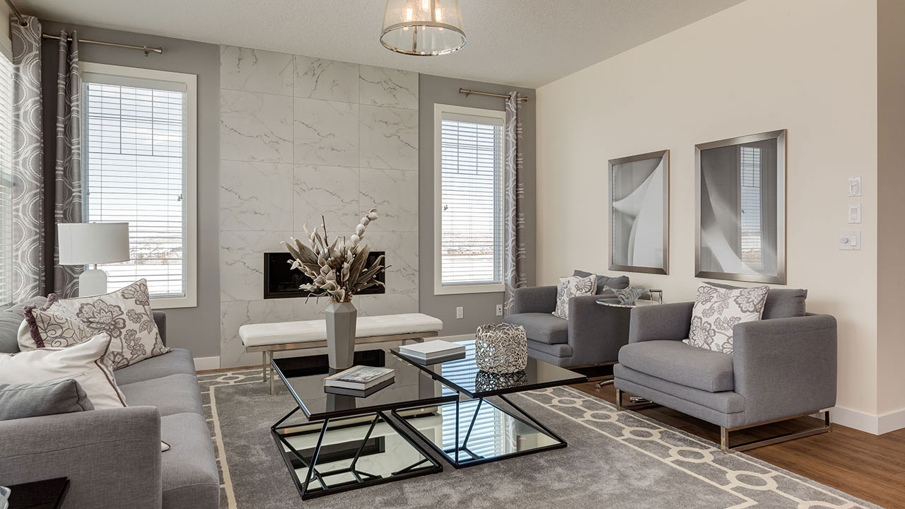 Relax in the living room of Sterling Home's Carlton model.