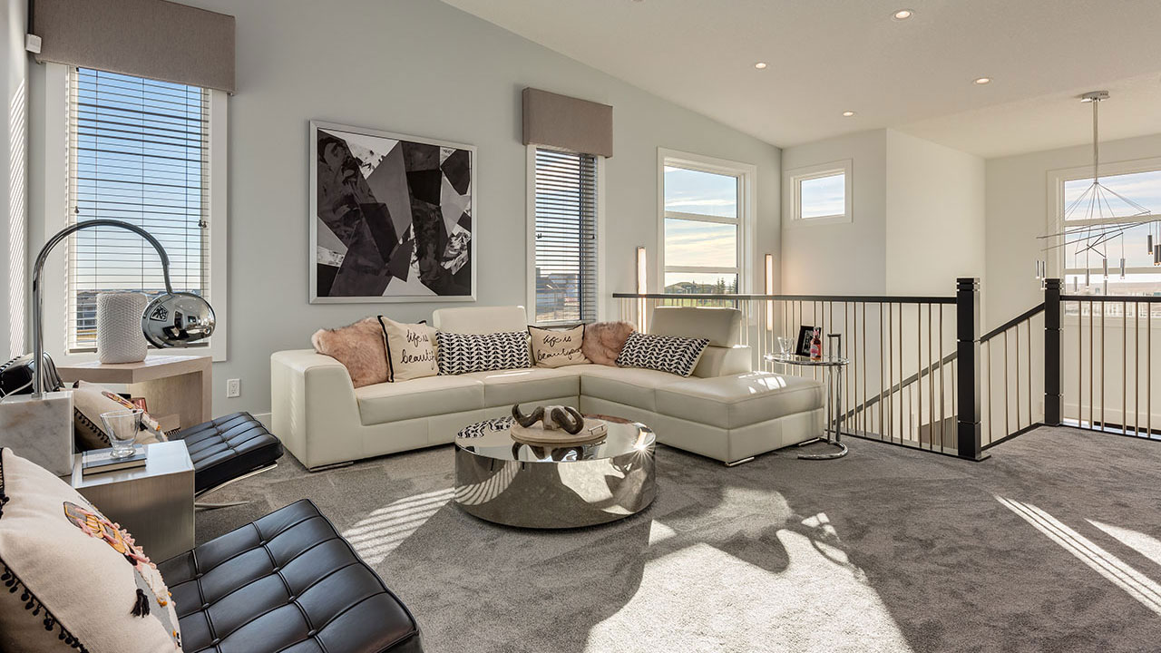 The Great Room in the Chelsea model by Sterling Homes Calgary.