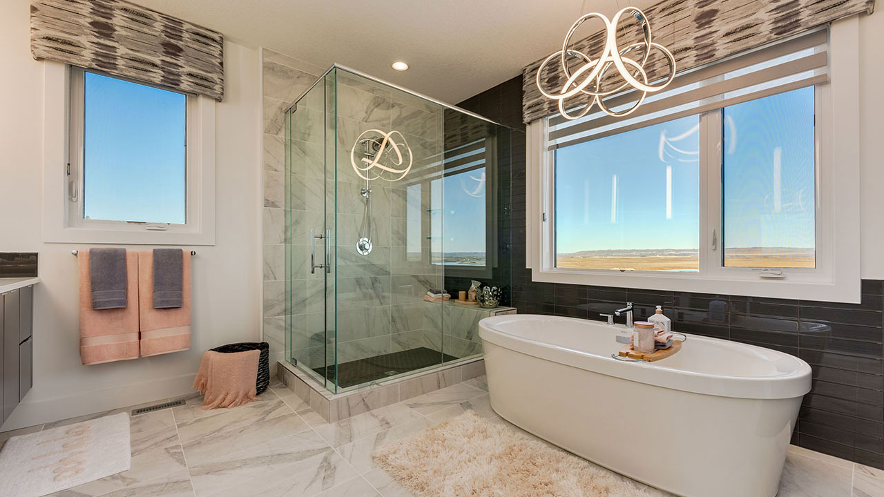 The elegant features of the bathroom in Sterling Homes' Chelsea model.