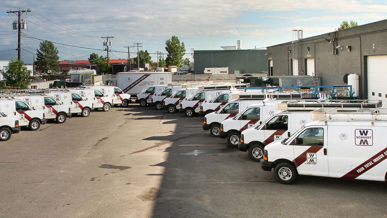 The fleet of WM Schmidt vehicles.