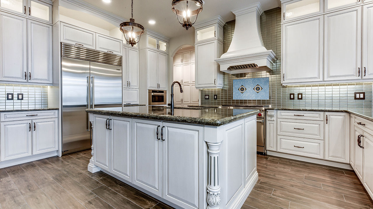 The kitchen in the Bollerize model home built by Augusta Fine Homes Edmonton.