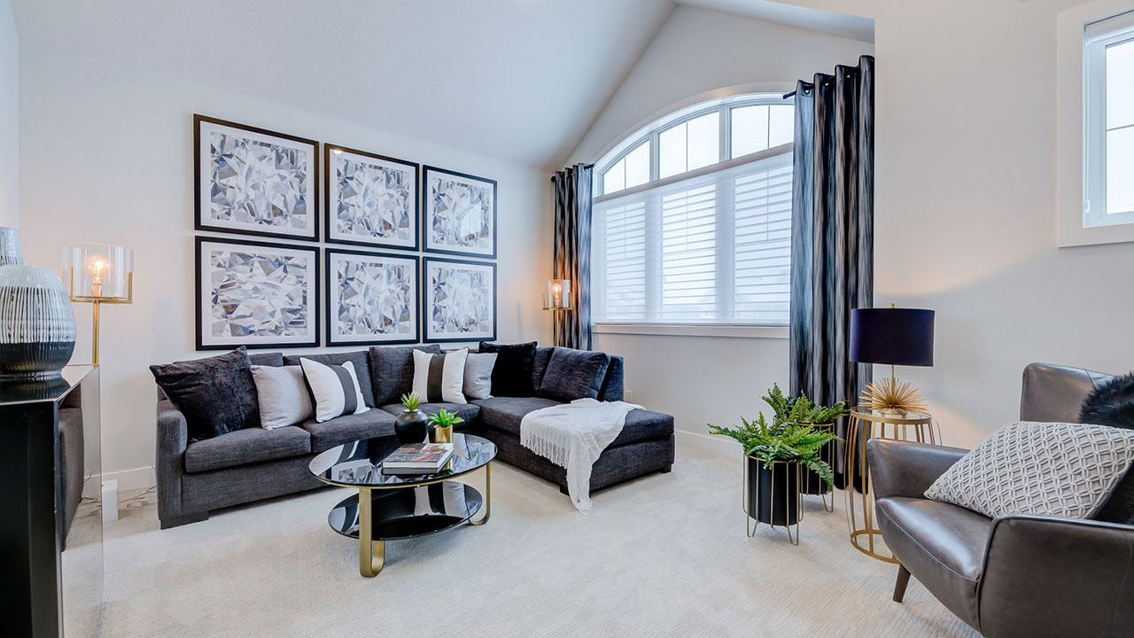 The living room of the Kensington model built by Augusta Fine Homes in Calgary.