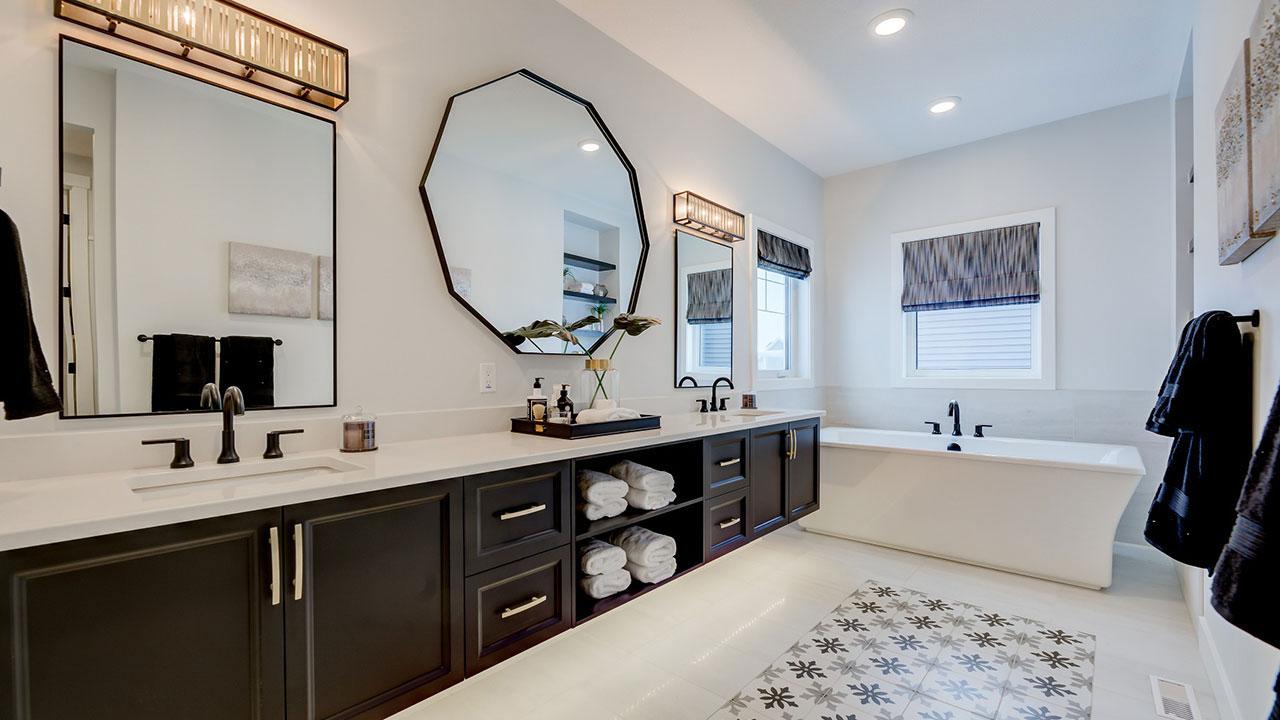The master bathroom in the Kensington model built by Augusta Fine Homes Edmonton.