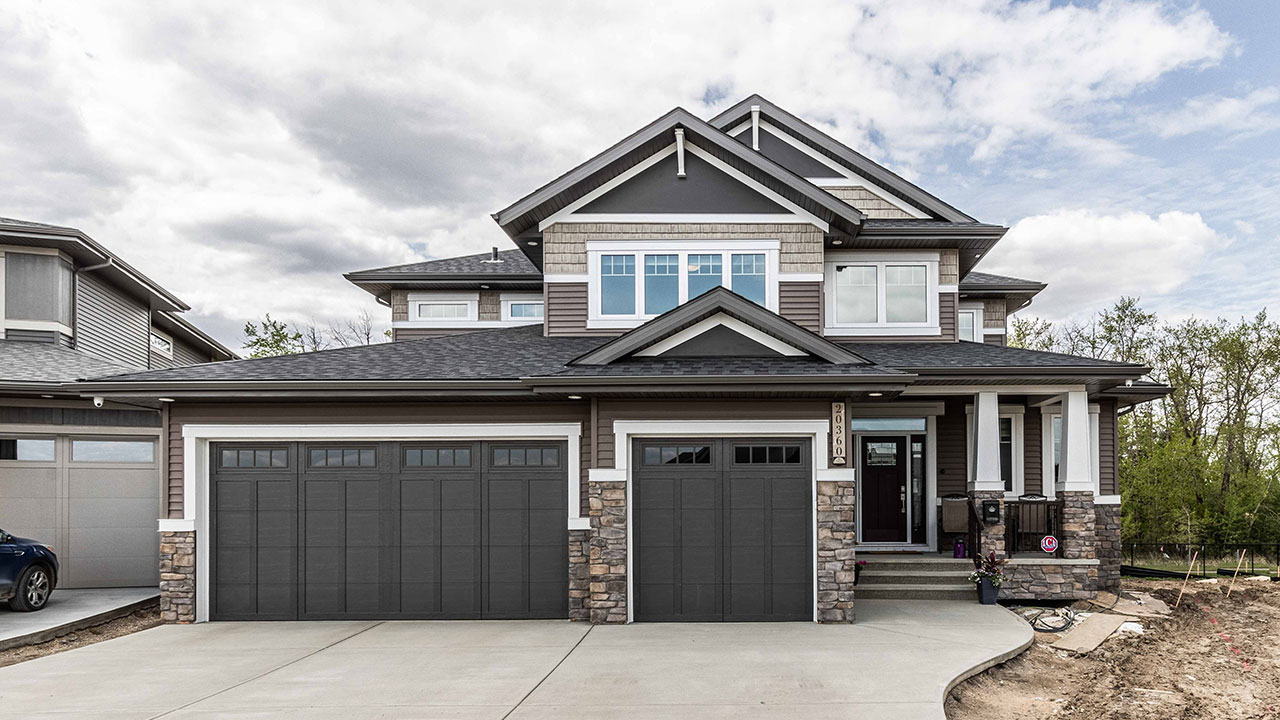 The exterior of a custom home built by Augusta Fine Homes in Edmonton.