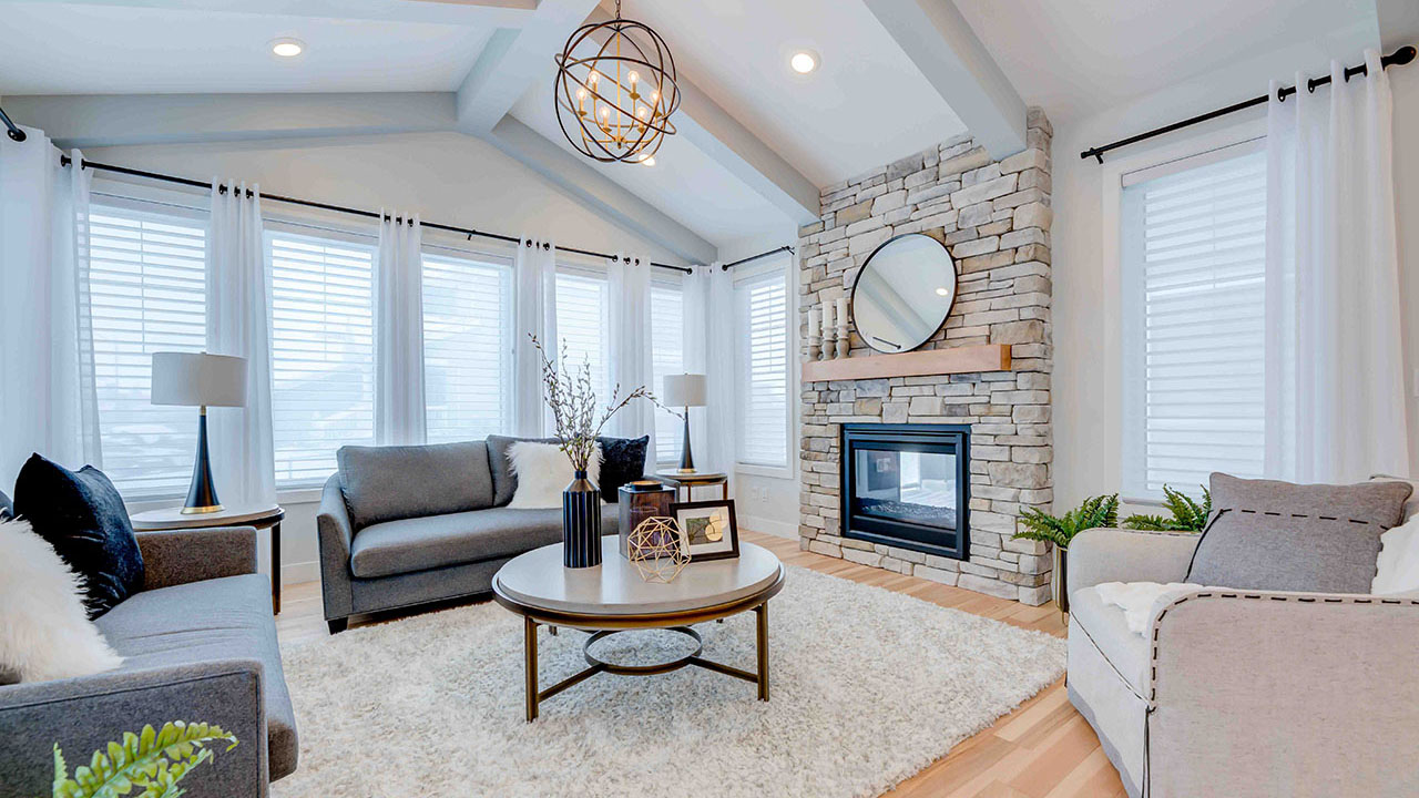The Great Room of the Kensington model built by Augusta Fine Homes Edmonton.
