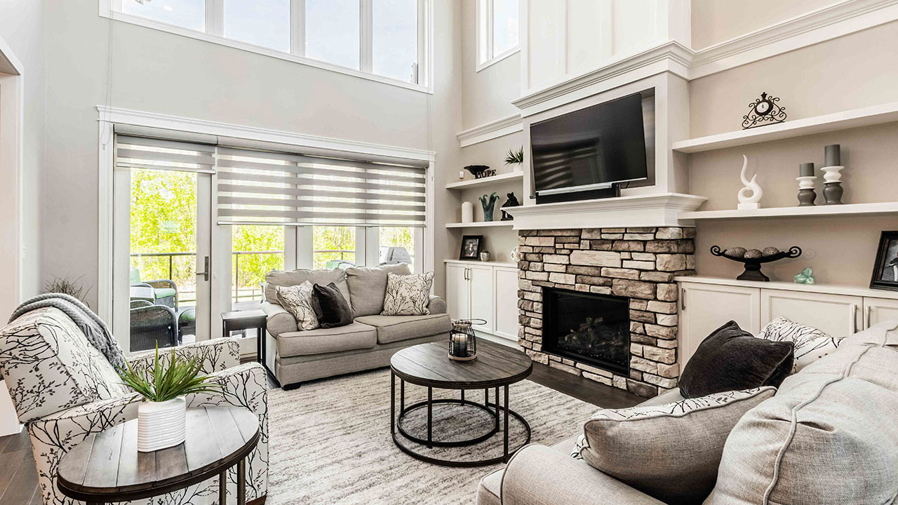 A living room in a custom home built by Augusta Fine Homes in Edmonton.