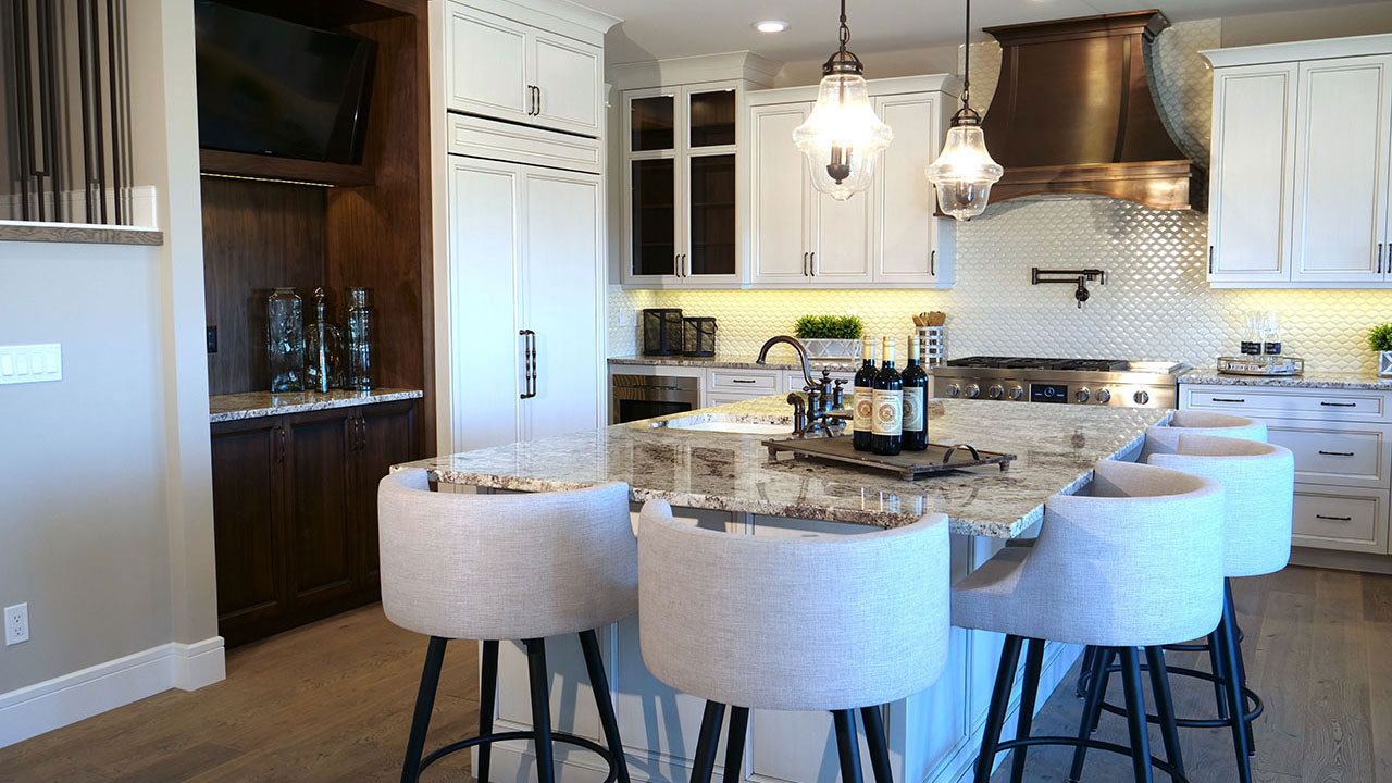 The kitchen of the Seacroft, built in Edmonton by Augusta Fine Homes.