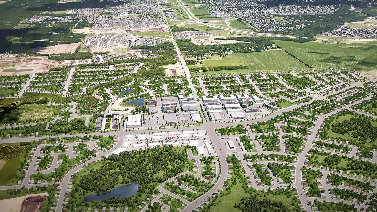 Aerial rendering of future commercial development in Riverview.