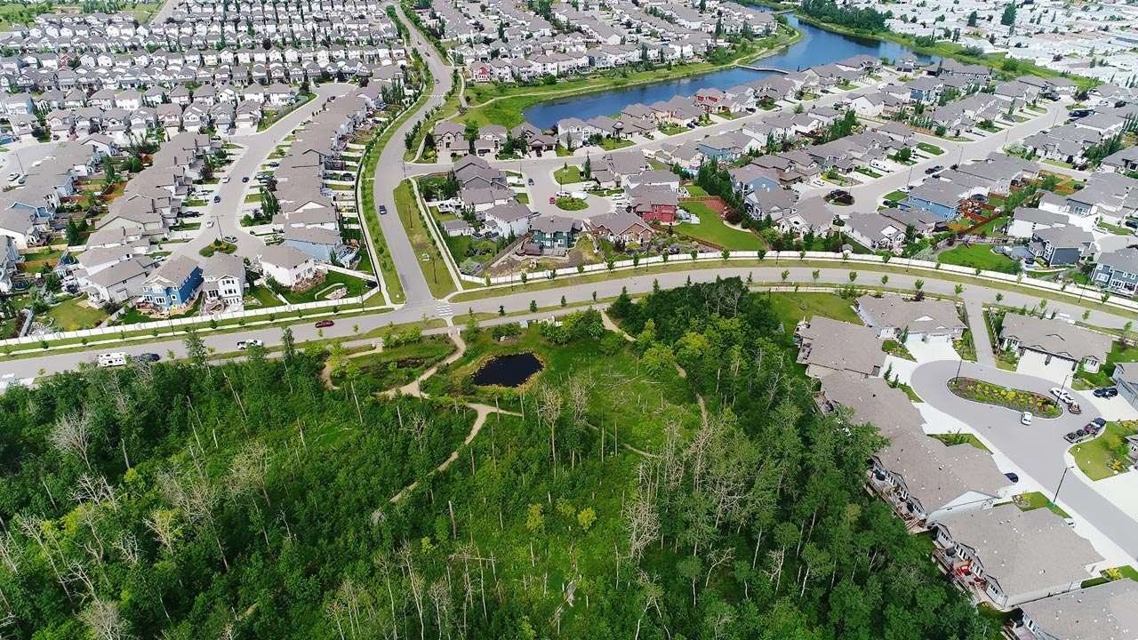 Aerial image of SummerWood in Sherwood Park.