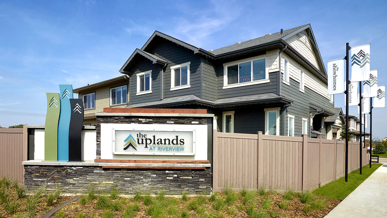 Entry feature welcoming you to the community of The Uplands at Riverview.