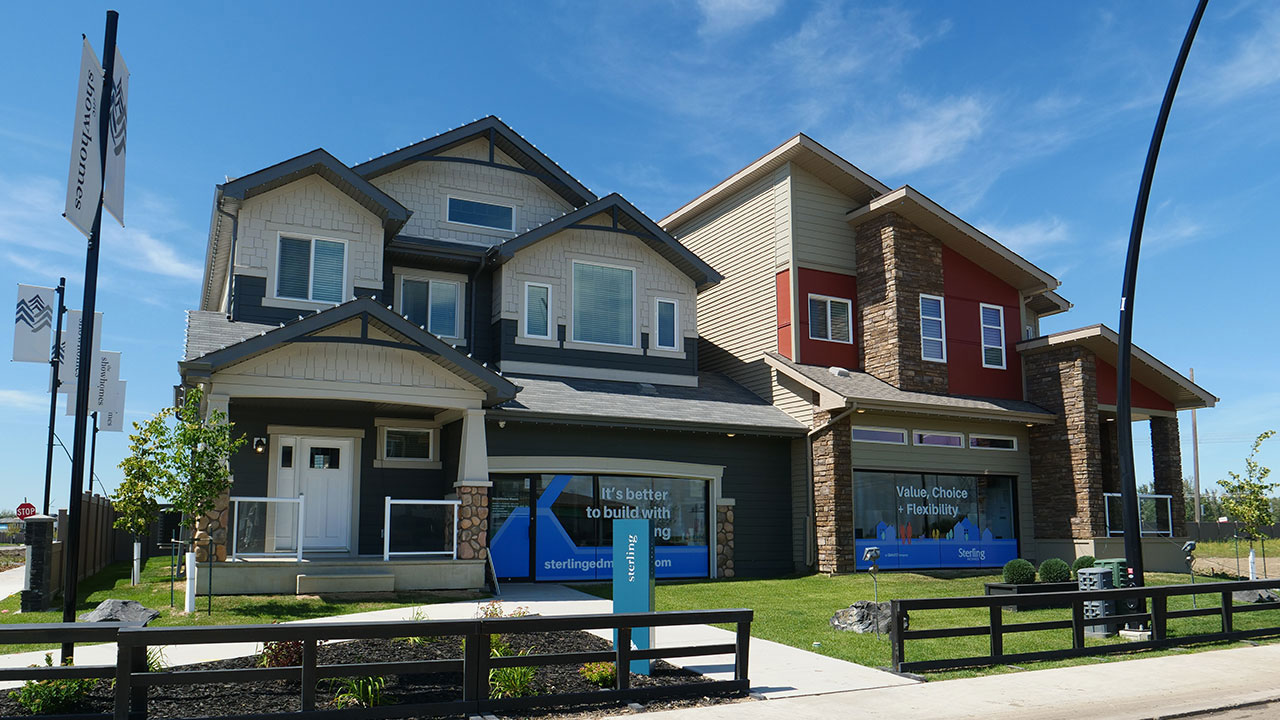 Sterling Homes Edmonton sales centre in The Uplands.