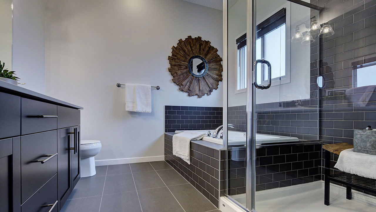 Ensuite bathroom in the showhome in the community of Westerra.