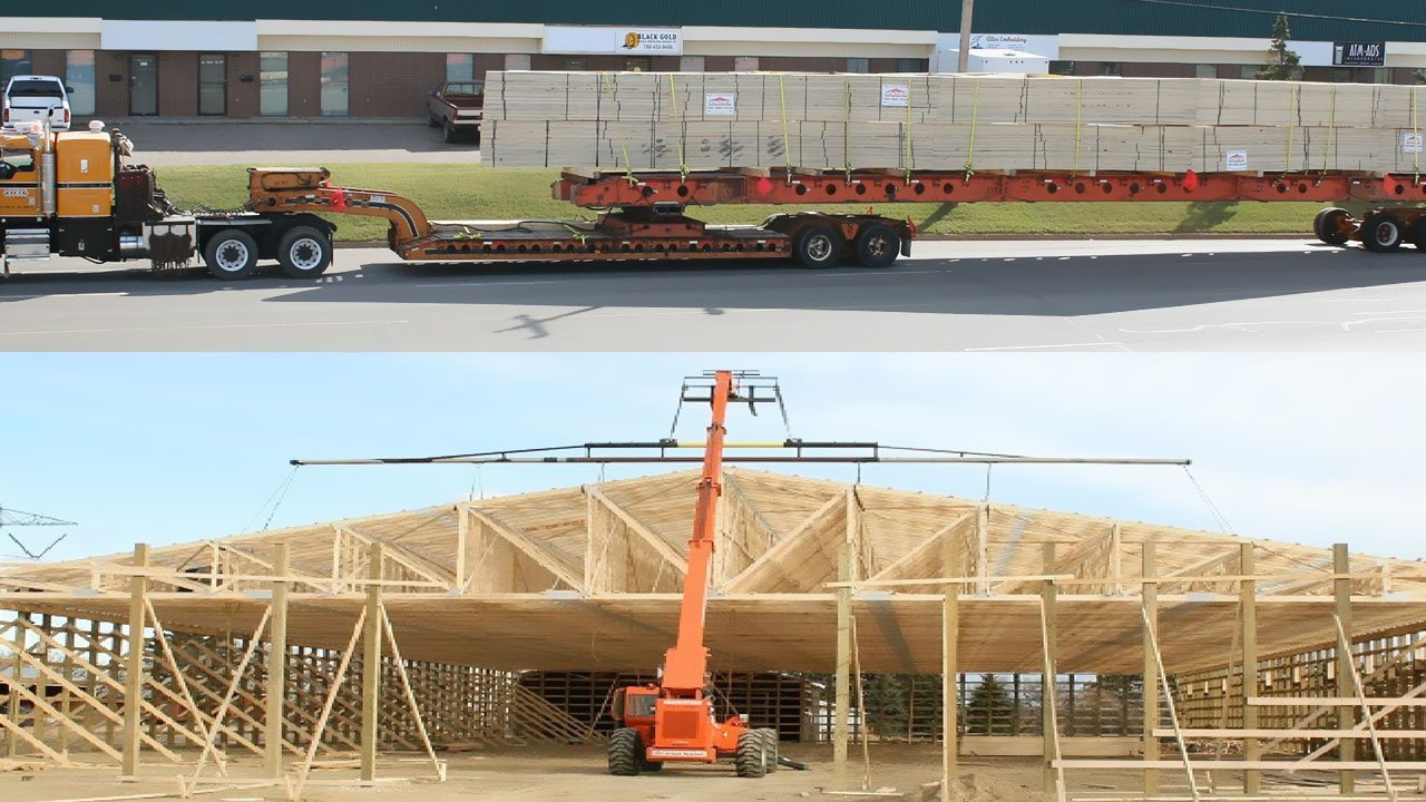 Shipping and crane install of roof truss.
