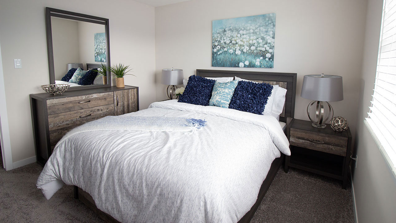 A bedroom in a Pacesetter home in Regina.