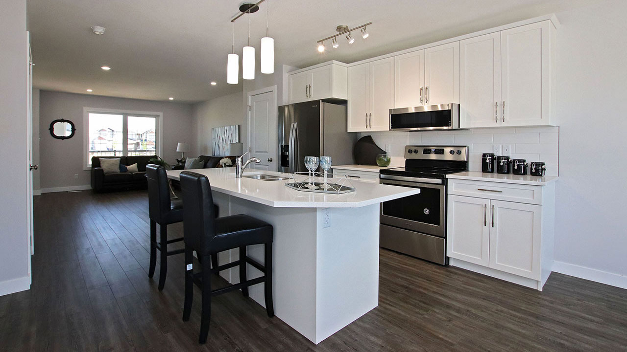 A kitchen island in a Pacesetter home in Regina.