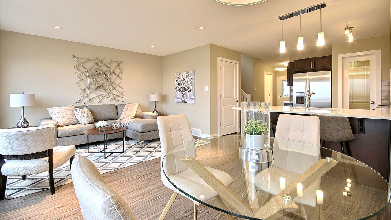 Elegant living room and dining room - Pacesetter Homes Regina.