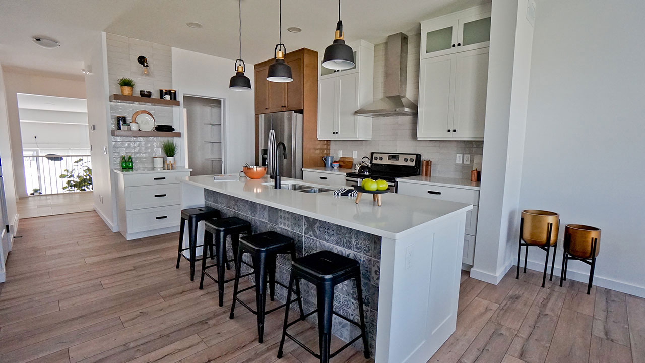 Kitchen island in a model built by Montana Homes.