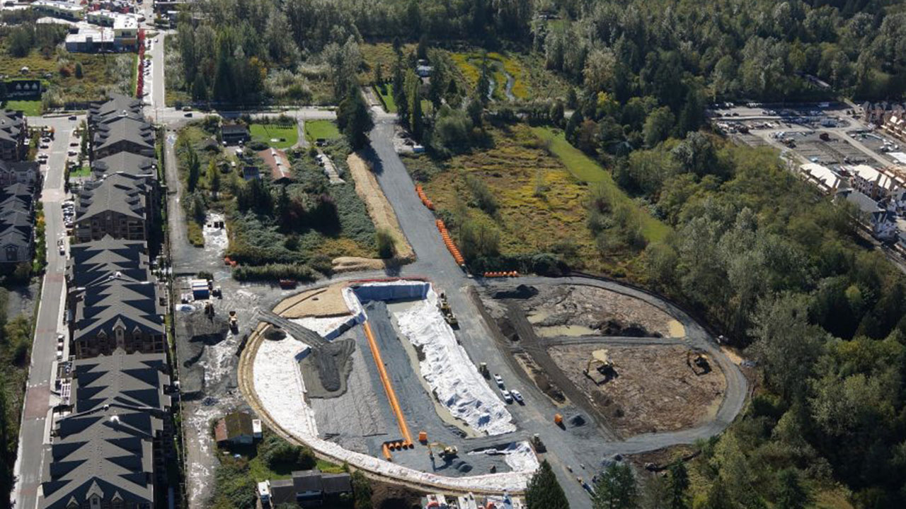 Aerial view of a phase of development in a Qualico community in Metro Vancouver.