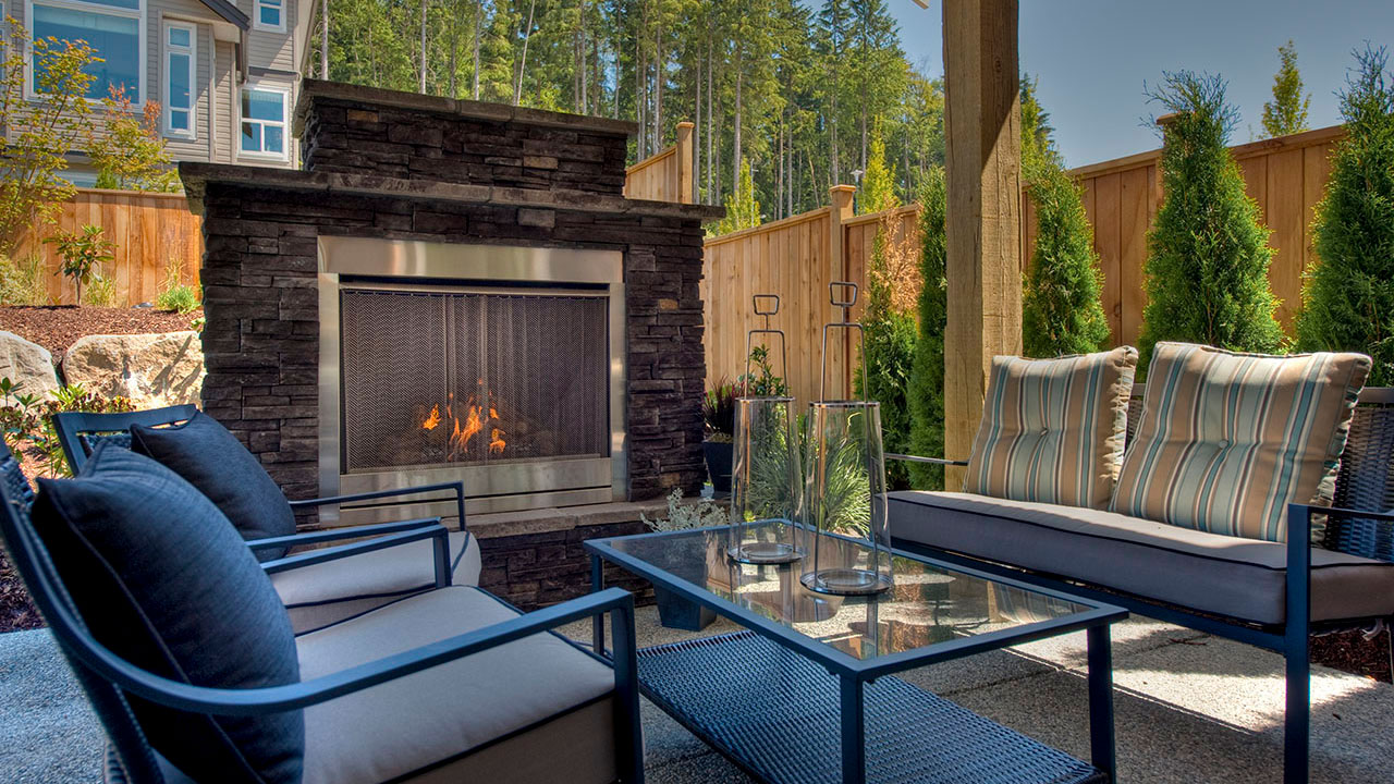 outdoor patio at the Foxridge showhome in Burke Mountain
