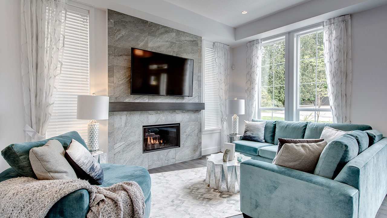 The living room of the Foxridge showhome in Metro Vancouver