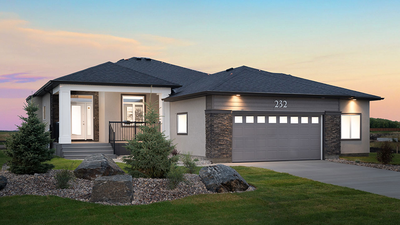 Exterior rendering of bungalow built by Broadview Homes in Winnipeg.