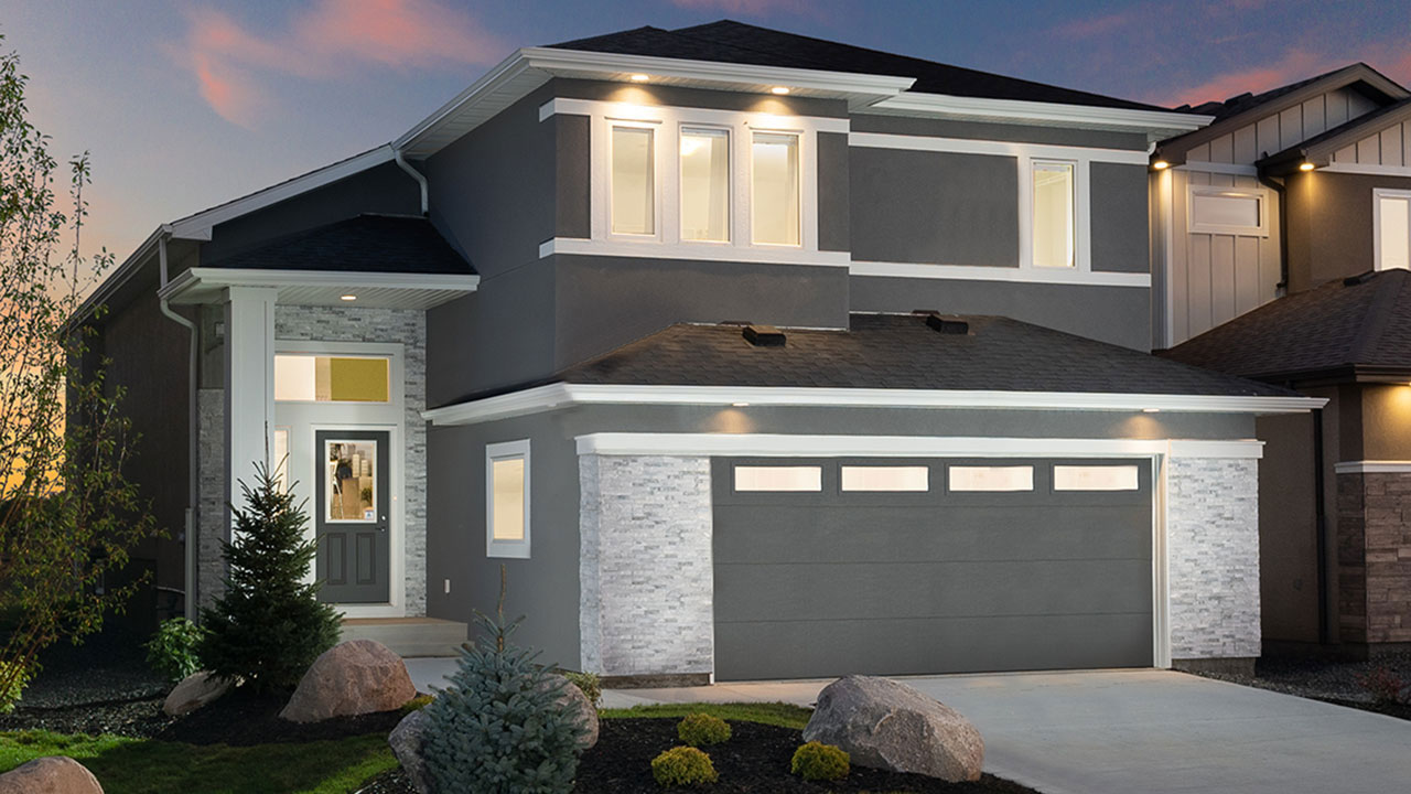 Rendering of a Broadview Homes model Winnipeg at dusk.