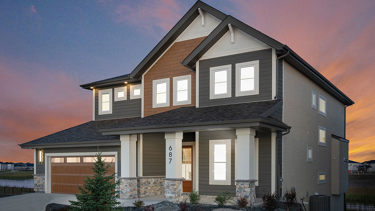 Rendering of a Foxridge Home at Twilight.
