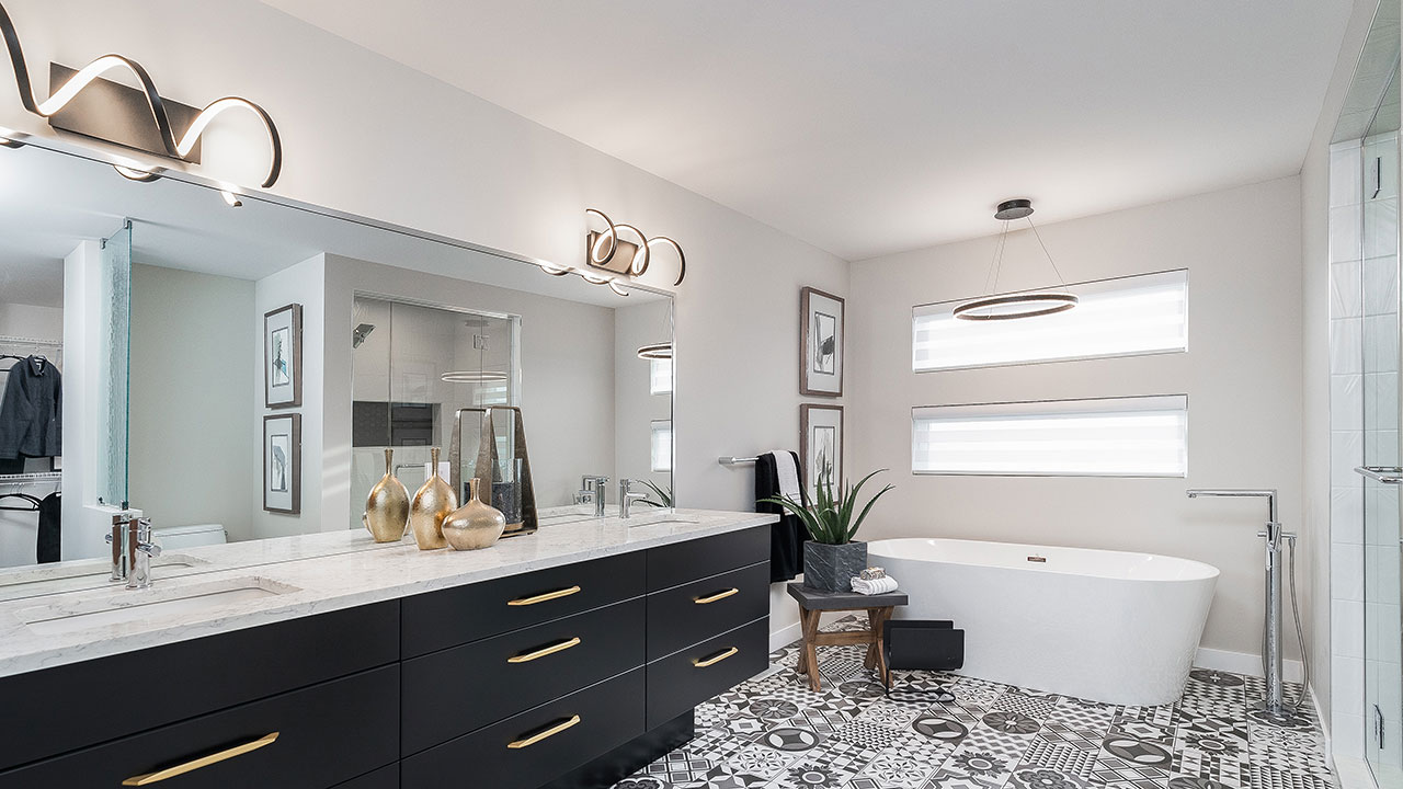 Modern bathroom design in a model built by Foxridge Homes in Winnipeg.