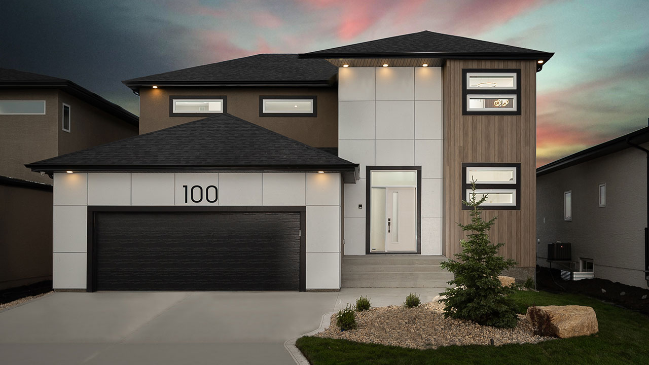 Rendering of a modern designed model built by Foxridge Homes.